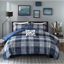 4 Piece Boys Classic Blue White Tartan Comforter Twin/Twin XL Set, Navy Lumberjack Pattern Madras Bedding Modern College Dorm Solid Color Cabin Lodge Southwest, Polyester