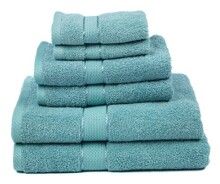 Premium Bamboo Cotton 6 Piece Towel Set (2 Bath Towels, 2 Hand Towels and 2 Washcloths) - Natural, Ultra Absorbent and Eco-Friendly (Sea Green)