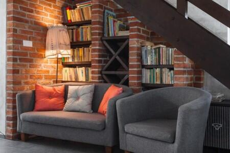 couches, apartment, bookcase