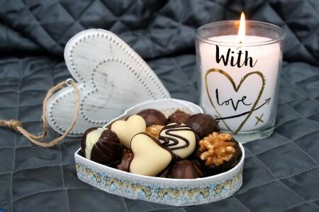 chocolate, candy, love, heart, candle