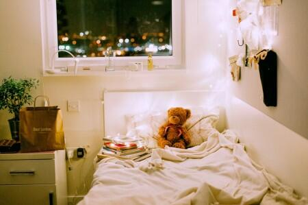 lights, bed, sheets, pillow, teddy bear, window