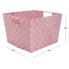 Large Lurex Woven Storage Bin - Light Pink