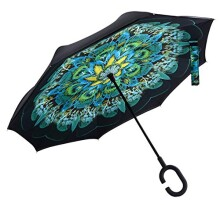 HappyGO Colorful Manual Open Double Layer Wind Proof UV Proof Reverse Travel Inverted Golf Umbrella
