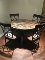 Kitchen Table with Four Metal Upholstered Chairs