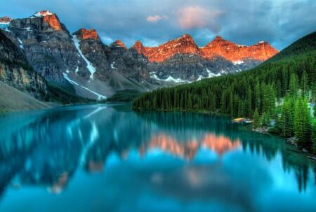 national park, water, mountains, trees, nature, beautiful