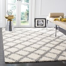 "Safavieh Dallas Shag Collection SGD258F Ivory and Grey Area Rug, 5 feet 1 inches by 7 feet 6 inches (5'1"" x 7'6"")"