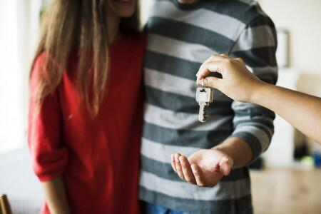 couple, key, apartment, home, move