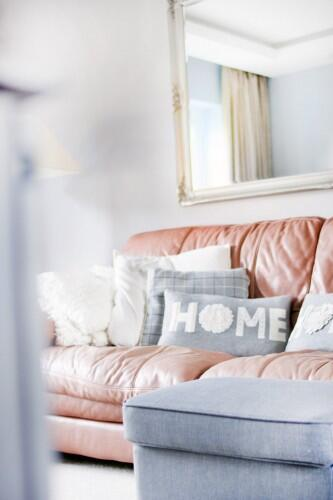 couch, pillows, home, pink, mirror